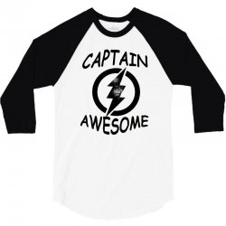 captain awesome tshirt funny humor tee comic vintage new lightning vtg 3/4 Sleeve Shirt | Artistshot
