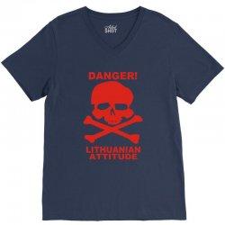 danger! lithuania attitude V-Neck Tee | Artistshot
