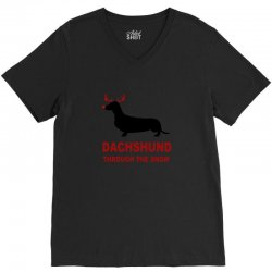 dachshund through the snow V-Neck Tee | Artistshot