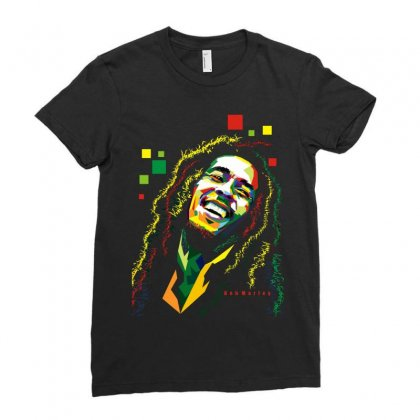 Bob Marley Rasta Way In Ladies Fitted T-shirt Designed By Mdk Art