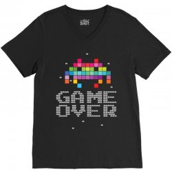 Game Over Pixel 8 bit V-Neck Tee | Artistshot