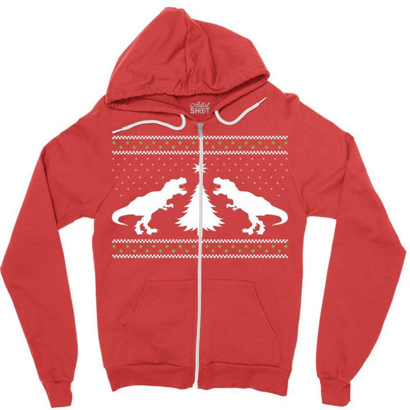 T-rex Dinosaur Christmas Sweater Zipper Hoodie | Artistshot