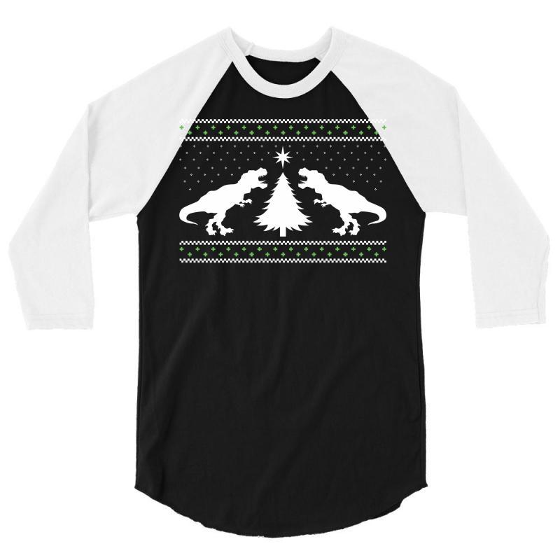 T-rex Dinosaur Christmas Sweater 3/4 Sleeve Shirt | Artistshot