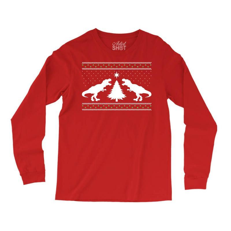 T-rex Dinosaur Christmas Sweater Long Sleeve Shirts | Artistshot