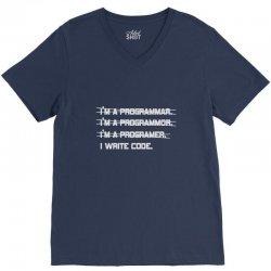 i'm a programmer computer code V-Neck Tee | Artistshot