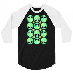 sad alien and daisy nineties grunge pattern 3/4 Sleeve Shirt | Artistshot