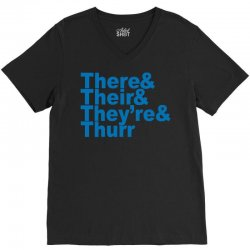 there & their & they're & thurr V-Neck Tee | Artistshot