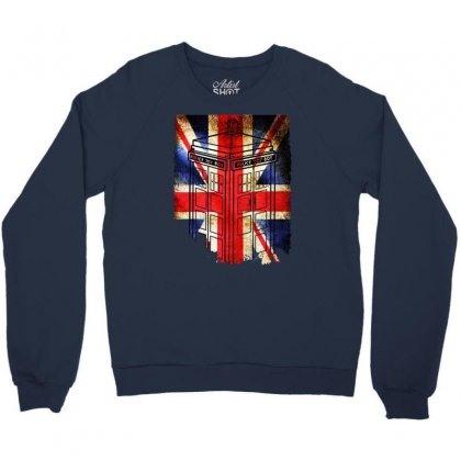 Tardis British Flag Crewneck Sweatshirt Designed By Killakam