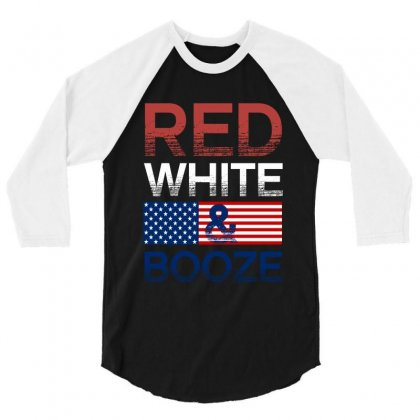Red White And Booze 3/4 Sleeve Shirt Designed By Rardesign