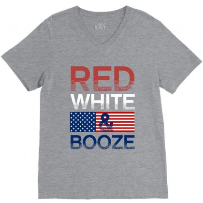 Red White And Booze V-neck Tee Designed By Rardesign