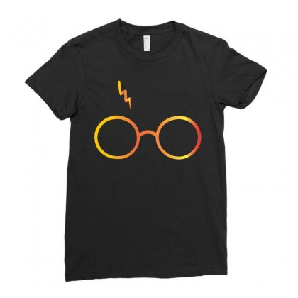 Harry Potter Lightning Glasses Ladies Fitted T-shirt Designed By Designbysebastian