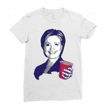 Hillary Clinton Celebrating 4th Of July Ladies Fitted T-shirt Designed By Tshiart
