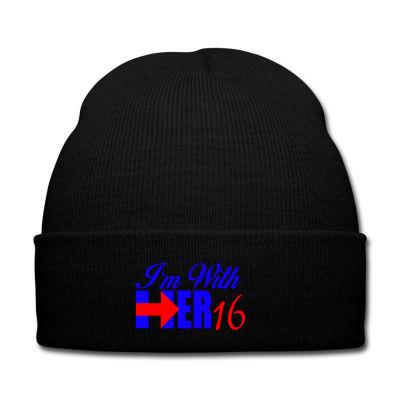 84cf54d45b5 Custom I m With Her 16 Hillary Clinton Knit Cap By Killakam - Artistshot