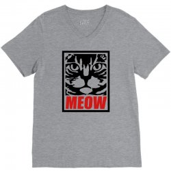 funny cat meow V-Neck Tee   Artistshot