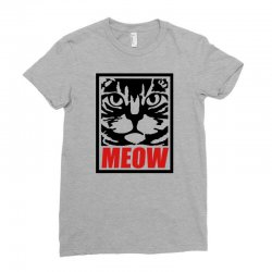 funny cat meow Ladies Fitted T-Shirt | Artistshot