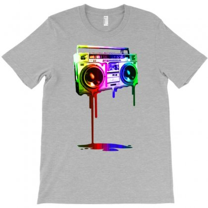 Boombox Rainbow T-shirt Designed By Gematees