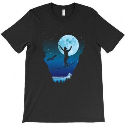 Moonlight Slackline T-shirt Designed By Gematees