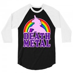 funny death metal unicorn rainbow 3/4 Sleeve Shirt | Artistshot
