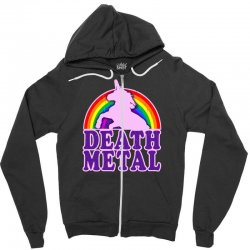 funny death metal unicorn rainbow Zipper Hoodie | Artistshot