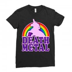 funny death metal unicorn rainbow Ladies Fitted T-Shirt | Artistshot