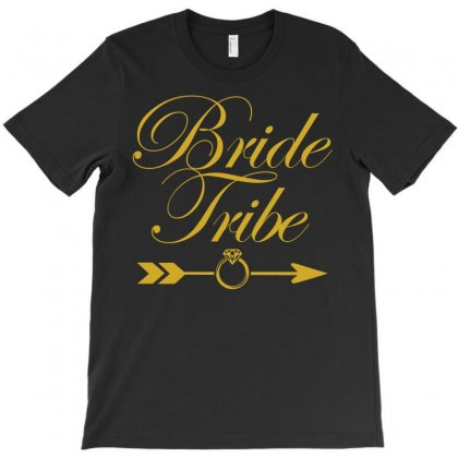 Bride Tribe Metallic Gold Print T-shirt Designed By Eugene