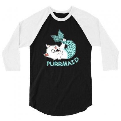 Funny Purr Maid Cat Mermaid 3/4 Sleeve Shirt Designed By Mdk Art
