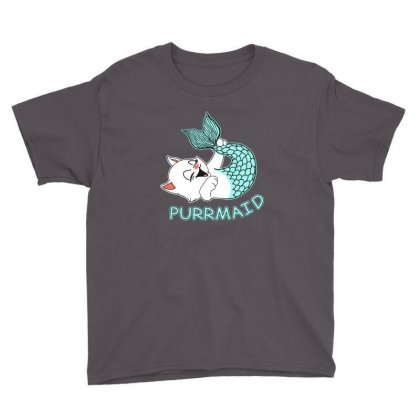 Funny Purr Maid Cat Mermaid Youth Tee Designed By Mdk Art