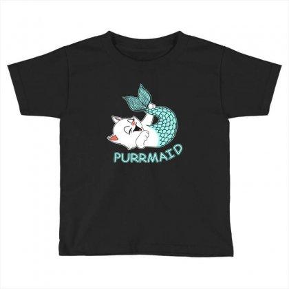 Funny Purr Maid Cat Mermaid Toddler T-shirt Designed By Mdk Art