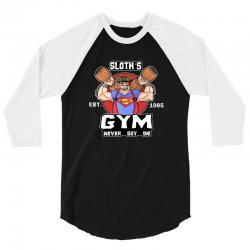 funny gym sloth the goonies fitness t shirt vectorized 3/4 Sleeve Shirt | Artistshot