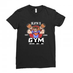 funny gym sloth the goonies fitness t shirt vectorized Ladies Fitted T-Shirt | Artistshot