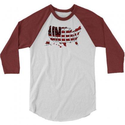 United States 3/4 Sleeve Shirt Designed By Mdk Art