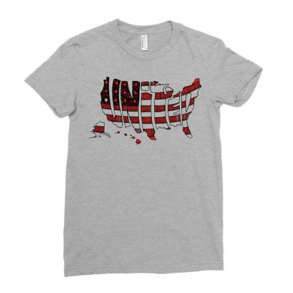 United States Ladies Fitted T-shirt Designed By Mdk Art