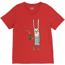 funny rabbit bunny holding a carrot V-Neck Tee | Artistshot