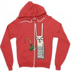 funny rabbit bunny holding a carrot Zipper Hoodie | Artistshot