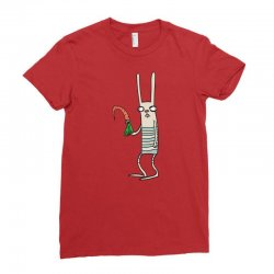 funny rabbit bunny holding a carrot Ladies Fitted T-Shirt | Artistshot