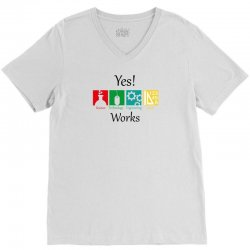 yes work science V-Neck Tee | Artistshot