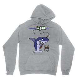 funny shark fishing for humans Unisex Hoodie | Artistshot