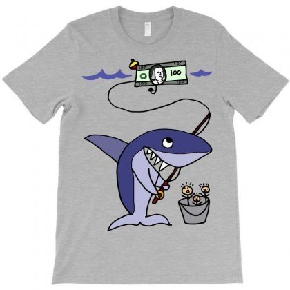 Funny Shark Fishing For Humans T-shirt Designed By Gematees