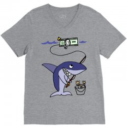 funny shark fishing for humans V-Neck Tee | Artistshot