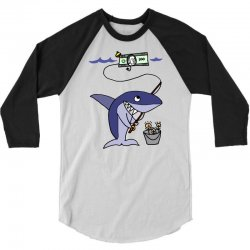 funny shark fishing for humans 3/4 Sleeve Shirt | Artistshot