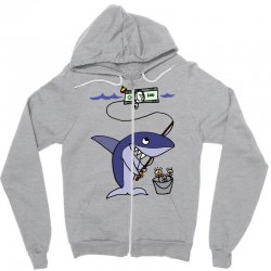funny shark fishing for humans Zipper Hoodie | Artistshot