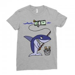 funny shark fishing for humans Ladies Fitted T-Shirt | Artistshot