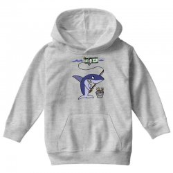 funny shark fishing for humans Youth Hoodie | Artistshot
