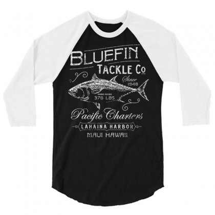 Bluefin Tackle Co Fishing Hawaii Cool Trendy Hip Novelty 3/4 Sleeve Shirt Designed By Mdk Art