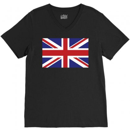 Flag Of The United Kingdom V-neck Tee Designed By Designbysebastian