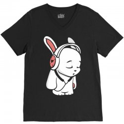 love music cartoon bunny V-Neck Tee | Artistshot