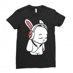 love music cartoon bunny Ladies Fitted T-Shirt | Artistshot