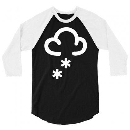 Snow Weather Symbol 3/4 Sleeve Shirt Designed By Mdk Art