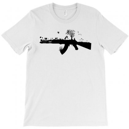 Banksy Style Ak47 Art   Funny T Shirt Satire War Peace Love T-shirt Designed By Mdk Art
