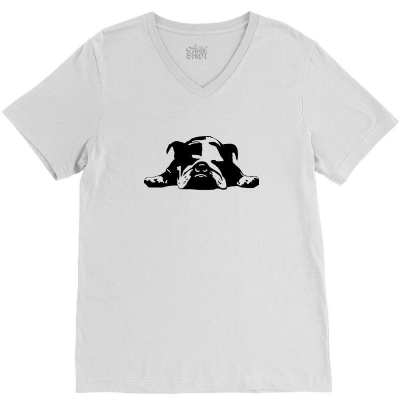 58965d8fb Custom Bulldog Stencil Womens T Shirt V-neck Tee By Mdk Art - Artistshot